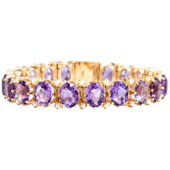 Antique Victorian 14KY Amethyst and Seed Pearl Bracelet