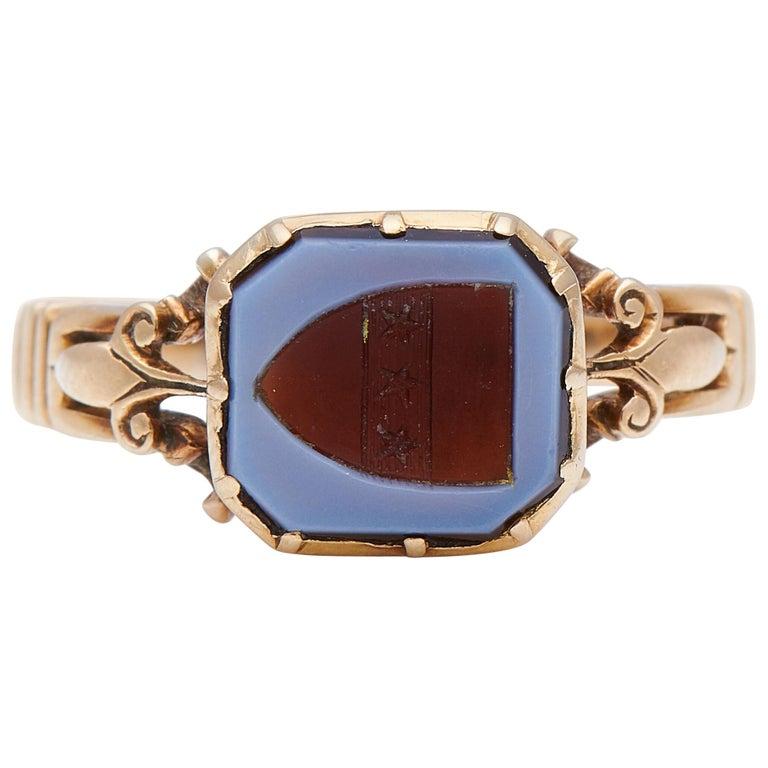 Antique Victorian, 15 Carat Gold, Carved Agate Signet Ring For Sale