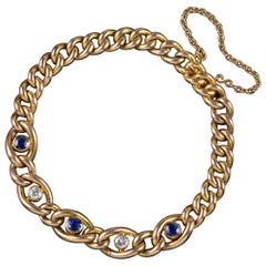 Antique Victorian 15 Carat Gold Sapphire Diamond Bracelet, circa 1900