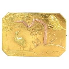 Antique Victorian 15 Karat Gold Aesthetic Movement Brooch