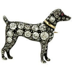 Antique Victorian 15 Karat Gold and Silver Dog Brooch with Diamonds and Ruby