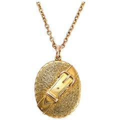 Antique Victorian 15 Karat Gold Buckle Locket Pendant