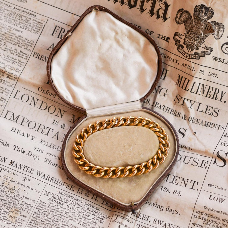 4b1cd50bb9029 Antique Victorian 15 Karat Gold Curb-Link Bracelet