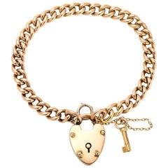 Antique Victorian 15 Karat Gold Curb-Link Bracelet with Heart Padlock