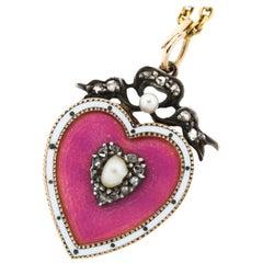 Antique Victorian 15 Karat Gold Enamel Seed Pearl Diamond Heart Pendant Necklace