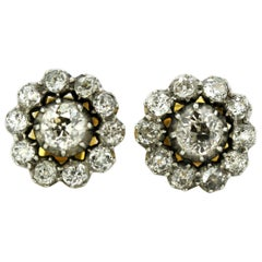 Antique Victorian 15 Karat Yellow Gold and Silver Ladies Stud with Diamonds