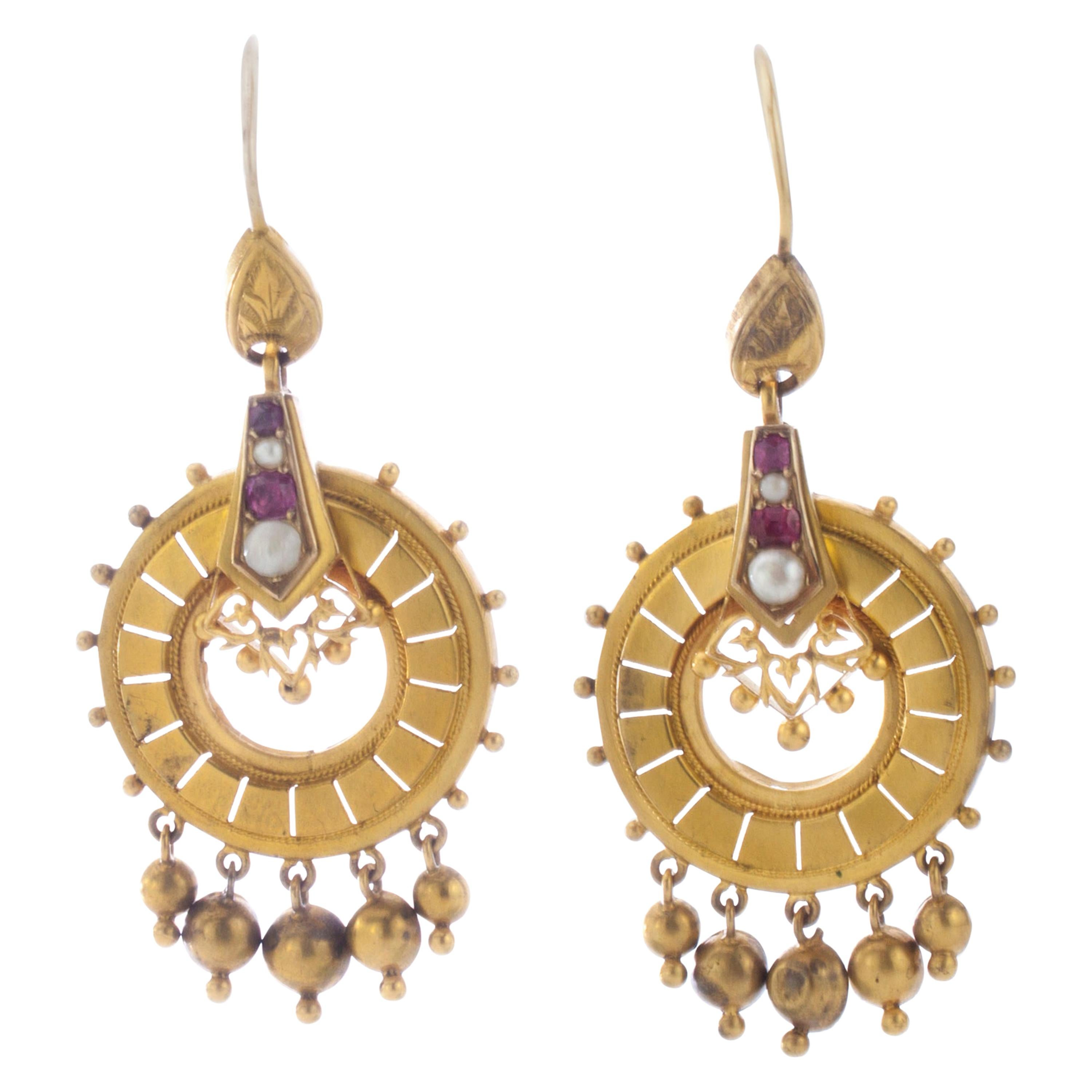 Antique Victorian 15 Karat Yellow Gold Dangle Earrings with Pearls and Rubies
