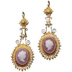 Antique Victorian 15 Karat Yellow Gold Ladies Earrings with Carnelian Intaglios