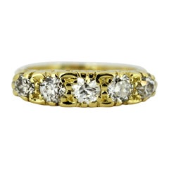 Antique Victorian 15 Karat Yellow Gold Ring with Diamonds, England, circa 1880s