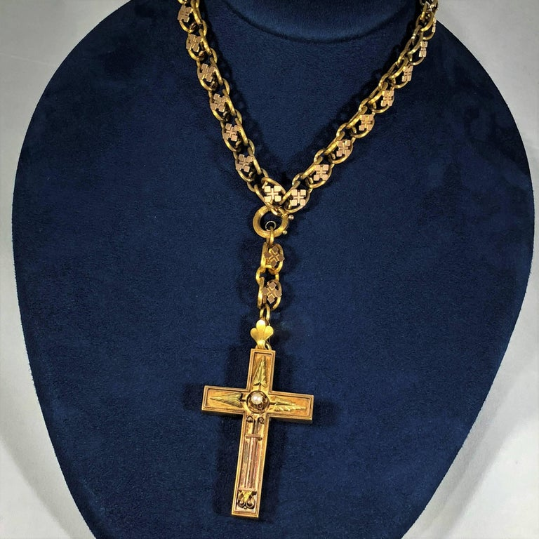 Antique Victorian 15 Karat Book Chain and Cross with Seed Pearl Pendant Necklace In Excellent Condition For Sale In Mansfield, OH