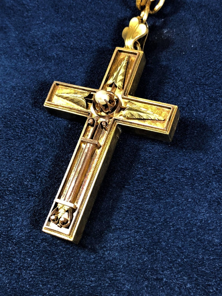 Antique Victorian 15 Karat Book Chain and Cross with Seed Pearl Pendant Necklace For Sale 2