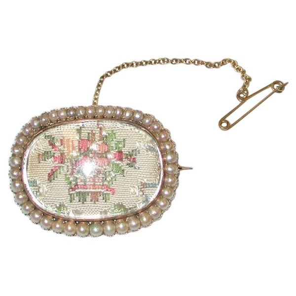 Antique Victorian 15ct Gold and Seed Pearl Brooch, Dated Circa 1850