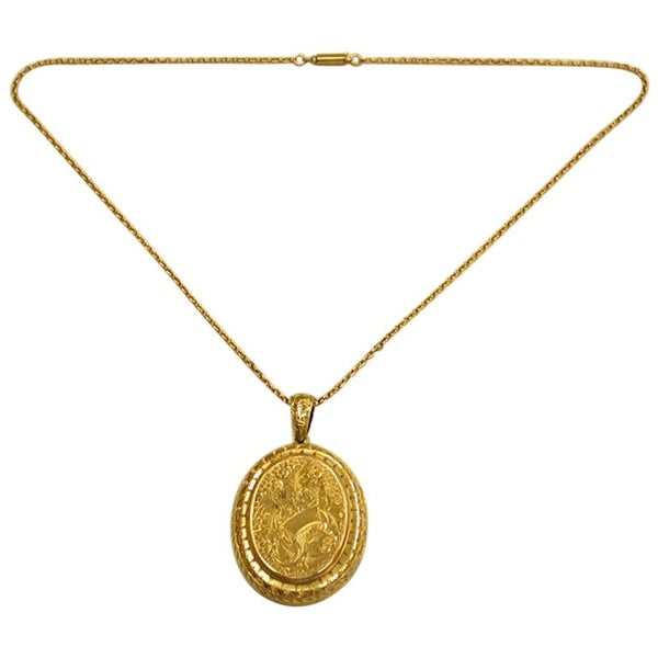 Antique Victorian 15 Carat Gold Locket and Chain Dated, circa 1880