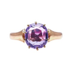 Antique, Victorian, 15ct Gold, Pink Sapphire Ring