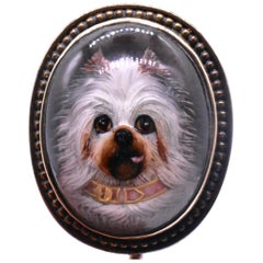 Antique Victorian 15K Essex Crystal Maltese Dog Stick Pin, Pink and Gold Collar