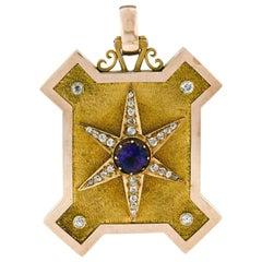Antique Victorian 15k Gold Amethyst & Diamond Large Locket Pendant Unique Shape