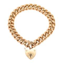 Antique Victorian 15 Karat Gold Curb Link Bracelet with Heart Padlock