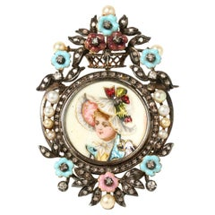 Antique Victorian 15kt Gold and Silver Brooch with Enamel Portrait, 1850's