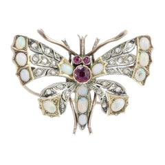 Antique Victorian 15kt Gold and Silver Butterfly Brooch with Opal, Rubies, 1860