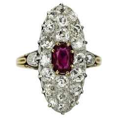 Antique Victorian 15 Karat Gold Ladies Ring with Natural Ruby and Diamonds 1880s