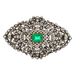 Antique Victorian 15 Karat Gold and Silver Brooch with Emerald and Diamonds