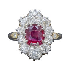 Antique Victorian 1.60 Carat Ruby 3 Carat Diamond Cluster Ring 18 Carat Gold