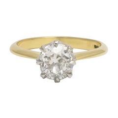 Antique Victorian 1.69 Carat Cushion Cut Diamond Solitaire Engagement Ring