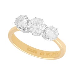 Antique Victorian 1.70 Carat Diamond and Yellow Gold Trilogy Ring 1876
