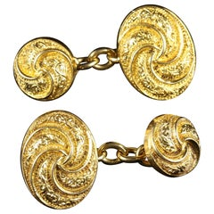 Antique Victorian 18 Carat Gold Double Cufflinks, circa 1900
