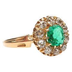 Antique, Victorian, 18 Carat Gold Emerald and Diamond Cluster Engagement Ring