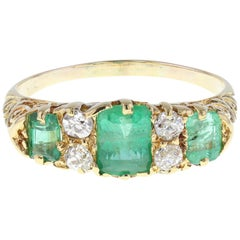 Antique Victorian 18 Carat Gold Emerald Diamond Carved Gallery Ring
