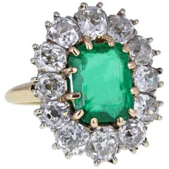 Antique Victorian 18 Carat Gold Emerald Old Cut Diamond Cluster Cocktail Ring