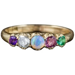 Antique Victorian 18 Carat Gold Gemstone Adore Ring, circa 1900