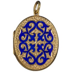 Antique Victorian 18 Carat Gold Gilt Blue Enamel Locket, circa 1880