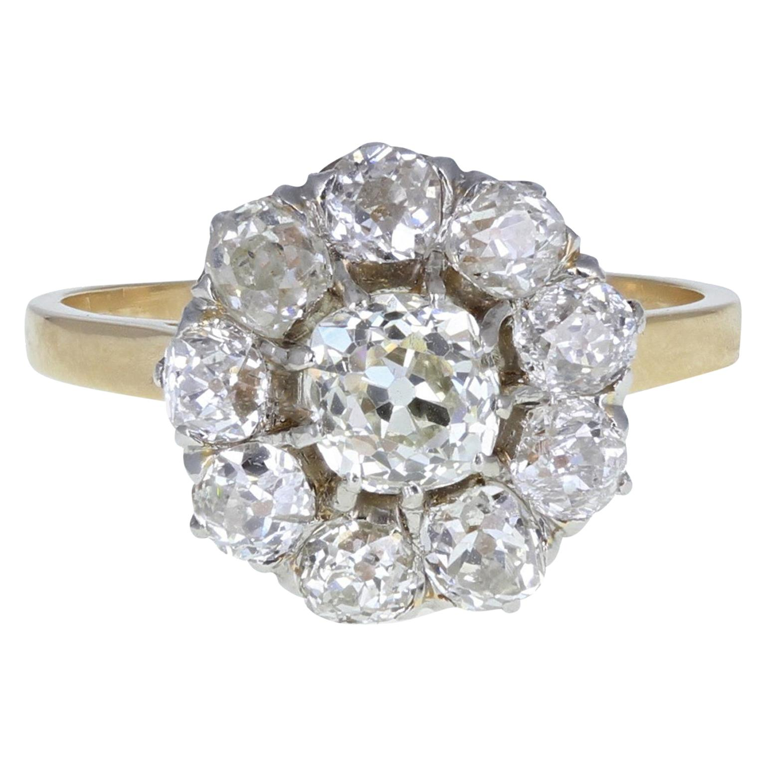 Antique Victorian 18 Carat Gold Old Cut Diamond Daisy Cluster Ring
