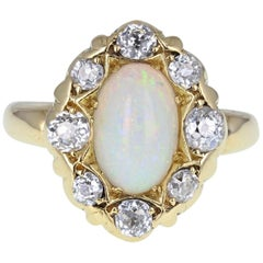 Antique Victorian 18 Carat Gold Opal Diamond Cluster Cocktail Dress Ring