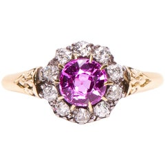 Antique, Victorian, 18 Carat Gold, Pink Sapphire and Diamond Engagement Ring