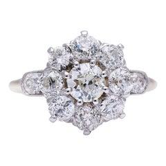 Antique Victorian, 18 Carat Gold, Platinum, Old-Cut Diamond Cluster Ring