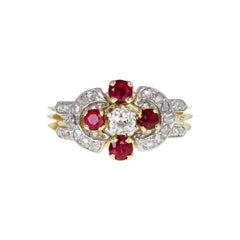 Antique Victorian 18 Carat Gold Ruby Diamond Cluster Ring