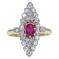 Antique Victorian 18 Carat Gold Ruby Diamond Navette Cluster Ring
