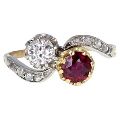Antique Victorian 18 Carat Gold Ruby Diamond Two-Stone Ring