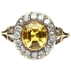 Antique, Victorian, 18 Carat Gold, Yellow Sapphire and Diamond Cluster Ring