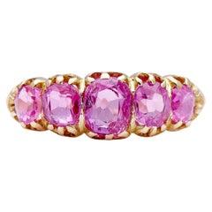 Antique, Victorian, 18 Carat Yellow Gold, Burmese Pink Sapphire Engagement Ring