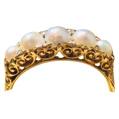 Antique, Victorian, 18 Carat Yellow Gold, Natural Pearl and Diamond Ring