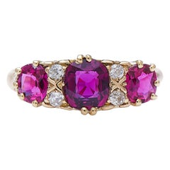 Antique Victorian 18 Carat Yellow Gold Natural Ruby and Diamond Three-Stone Ring