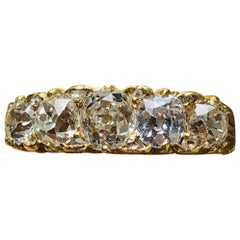 Antique, Victorian, 18 Carat Yellow Gold, Old Cut Diamond Half Hoop Ring