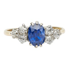 Antique, Victorian, 18 Carat Yellow Gold, Sapphire and Diamond Engagement Ring