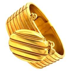 Antique Victorian 18 Karat Bangle Bracelet with Attached Locket