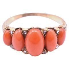 Antique Victorian 18 Karat Five-Stone Coral and Diamond Ring c1860
