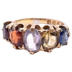 Antique Victorian 18 Karat Five-Stone Harlequin Ring